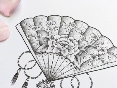 Chinese fan. Dotwork Time-lapse Drawing