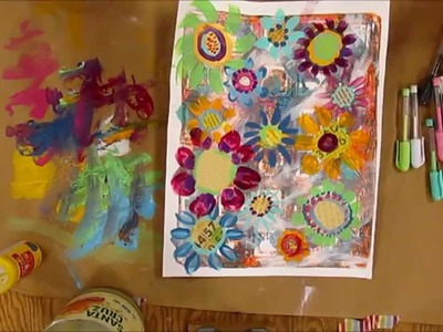 Dena Wakley class review and ACTs made out of Gelli prints