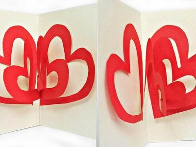 DIY 3D Heart Valentine's Day pop up Card Surprise Pix. Valentine heart love for beginners