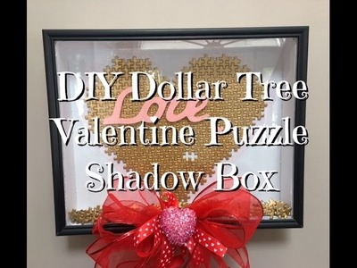 DIY Dollar Tree Valentine Puzzle Shadow Box How-to Tutorial