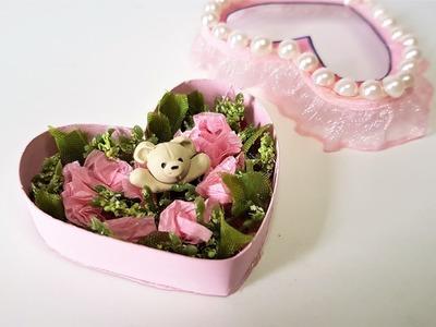 DIY Mini Heart Box w. Roses & Polymer Clay Teddy Bear