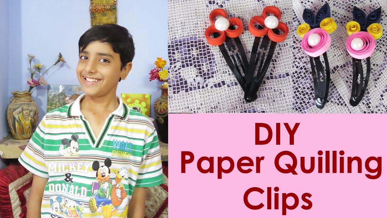 DIY : Paper Quilling Hair Clips Tutorial by Sahil Sachdeva .