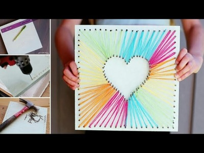 DIY | Valentine Hand-made  String Heart Card | Super Easy And Quick | Valentines IDEA February 2017