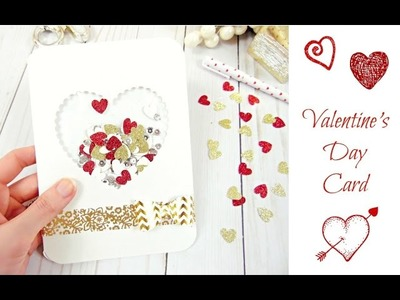 DIY Valentine's Day Confetti Card- Paper Crafting- Card Making