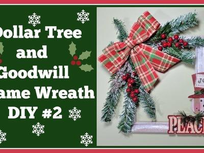 Dollar Tree and???? Goodwill DIY Christmas Frame???? Wreath #2