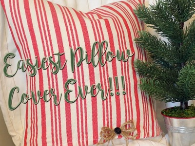Farmhouse Christmas Pillow Cover from Target Kitchen Towels {DIY & Decor Challenge}