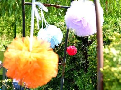Giant Pom Poms Tulle Party tutu yarn wall decoration art craft diy tutorial fun ideas hacks creation