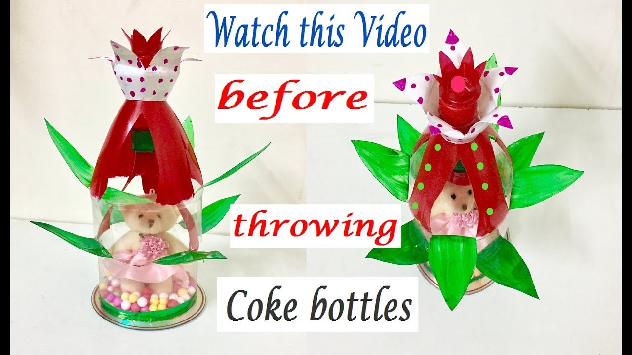 How to make a Table Top Showpiece from plastic bottles   Best out of waste     DIY life hacks