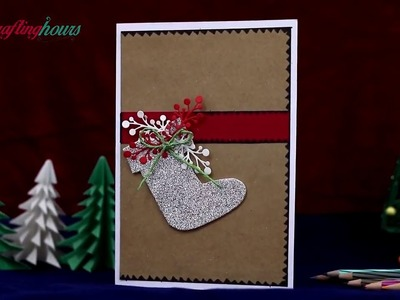 How to Make Christmas Card with Christmas Tree and Christmas Stocking