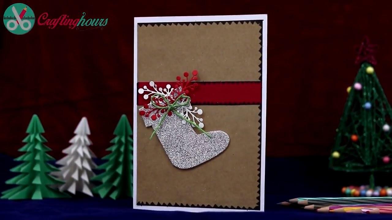 How to Make Christmas Card with Christmas Tree and Christmas Stocking