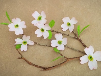 How To Make Dogwood Paper Flower From Crepe Paper - Craft Tutorial