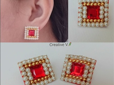 How to make Paper Stud Earrings | Earrings made out of paper | DIY. Design 1