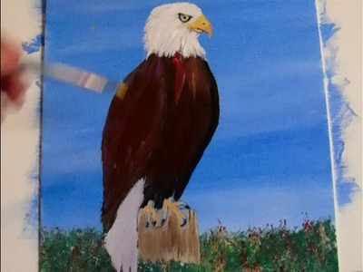 How to paint an Easy EAGLE,  Acrylic Painting for Beginners Lesson 3 Feathers and Finished.