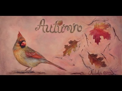 How to Paint Realistic Birds  Female Cardinal and Fall Leaves in Acrylics Part 1