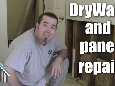 How to repair exterior wall, insulate, drywall and paneling. Easy! Home Mender.