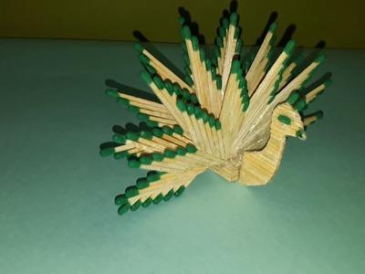 Matchstick art : Matches Peacock Crafts   Bipul Project