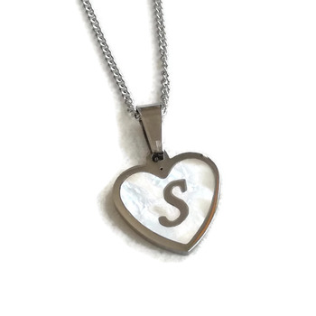 Monogram mother pearl pendant, stainless steel pendant, monogram steel pendant, mother pearl necklace, personalized heart monogram necklace