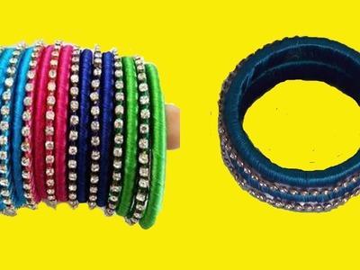 New Designer Silk Treads Pearls Checker Models Bangles Making at Home * DIY Decorative Bangles Set