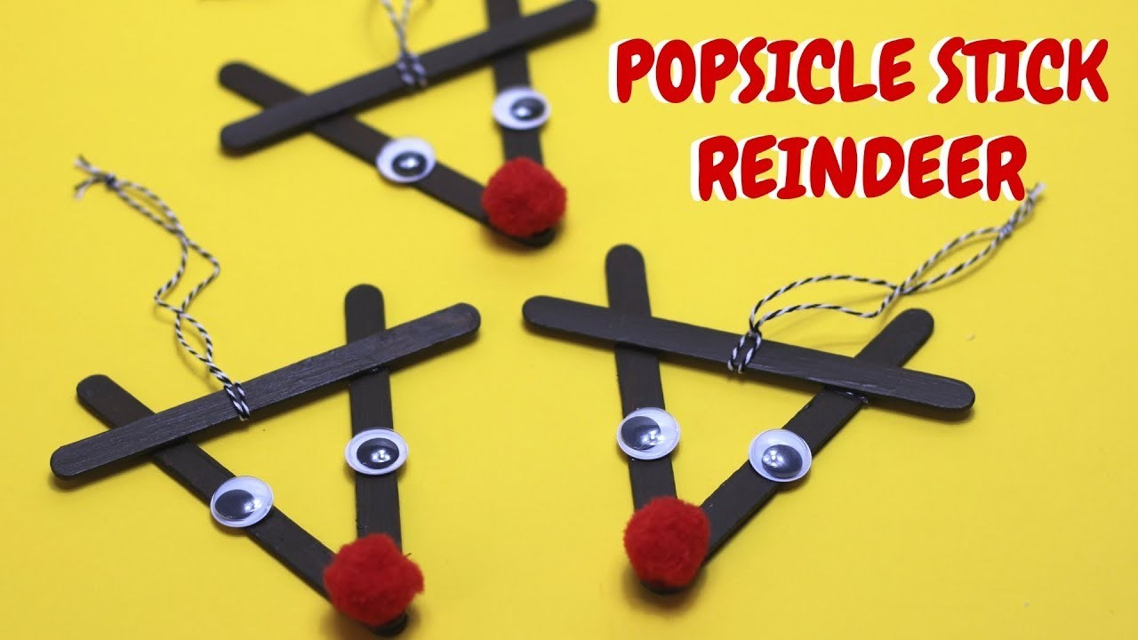 Popsicle Stick Reindeer   Christmas Craft Ideas   Popsicle Stick Crafts