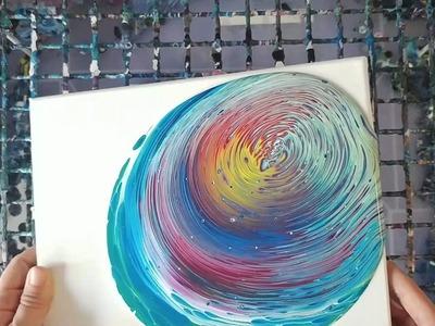 Rainbow Acrylic Pour
