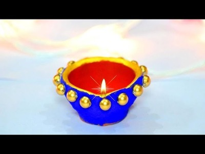 Very easy unique diya decoration at home | Decoration for diwali