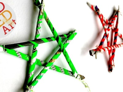 5 pointed Paper Straw Stars DIY from Newspaper - Newspaper DIYs Christmas