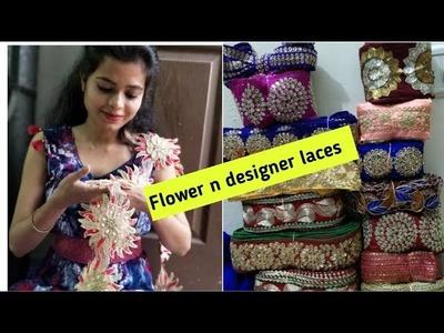 Buy Online Designer Laces.Border.  Flowers,Stone, Pearls Design For Saree. Part 1.