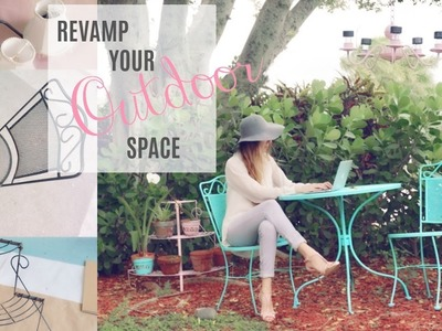 DIY : OUTDOOR PATIO FURNITURE | SOLAR CHANDELIER WITH DOLLAR TREE LIGHTS | PAINT OLD FURNITURE