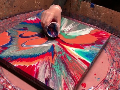 Fluid Painting on a New Level!! Acrylic Pour Painting using a Spin Table?? You gotta see this one!!