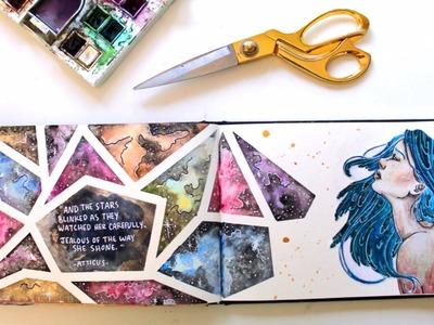 Geometric Galaxy - Art Journal Spread Start to Finish