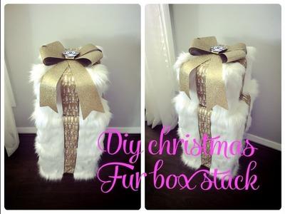 GLAM CHRISTMAS HOME DECOR -DIY FUR CHRISTMAS BOX STACK