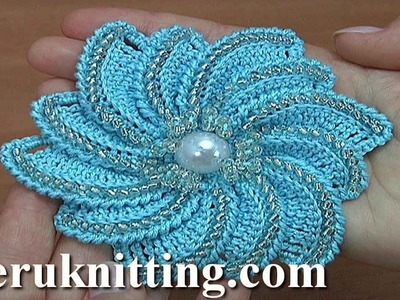 How to Crochet Beaded Flower Tutorial 182 الكروشيه زهرة