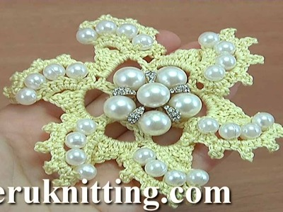 How to Crochet Flower with Beads Tutorial 152 קראָושיי בלום