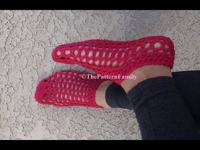 How to Crochet Slippers. Booties Pattern#175│by ThePatternfamily