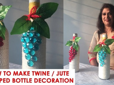 How to Make Twine Wrapped Bottle Decoration | Seema's Art