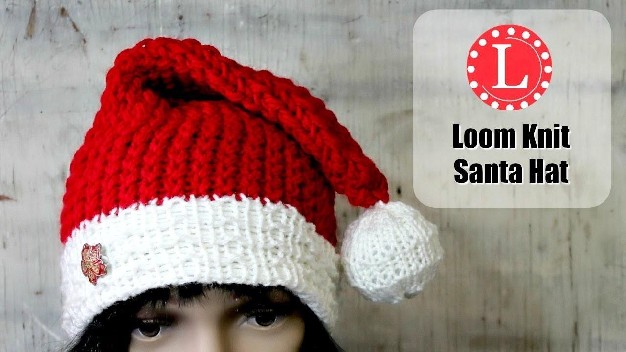 LOOM KNITTING HAT on a Round loom. Christmas Holiday Santa Hats ...