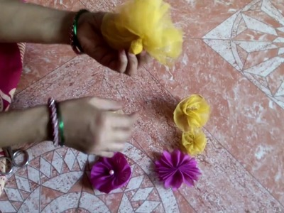 Make a flower with Net cloth