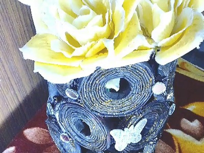 Newspaper flower pot , आसान  फ्लावर  पॉट  Best out of waste, easy to make, decorate home DIY