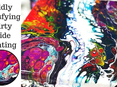 Oddly Satisfying Dirty Slide Painting Technique with Fluid Acrylic Pouring