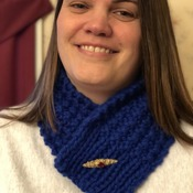 Royal blue cowl with removable broach closure