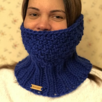 Royal blue neck warmer/cowl.  Wear it up around your face for extra warmth or folded down.  Very soft