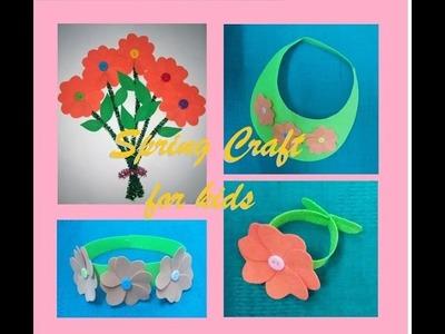 Spring crafts for kids - bunch of flowers, visor, flower crown and bracelet