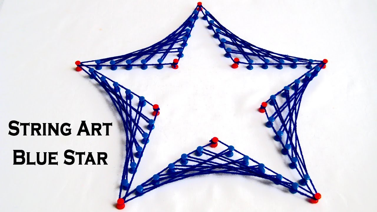 String Art Designs - Make Blue Star From String Art by Sonia Goyal
