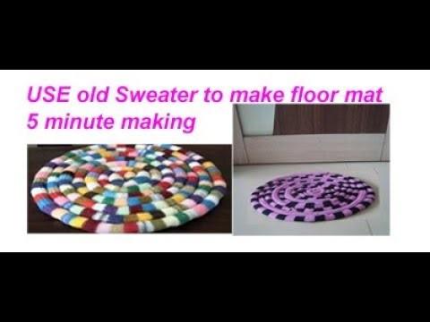 पुराने स्वेटर sweater से बनाए old sweater.lenging woolen floor mat.door mat.area rug.table mat