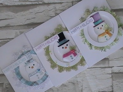 3 Cards - 3 Techniques. SSS Pine Needle Border.Picture Book Snowman Dies. C&CT