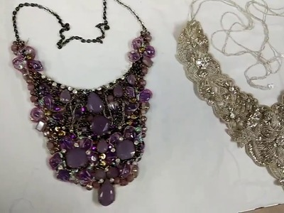 Beaded Necklace. Hand embroidery Designs