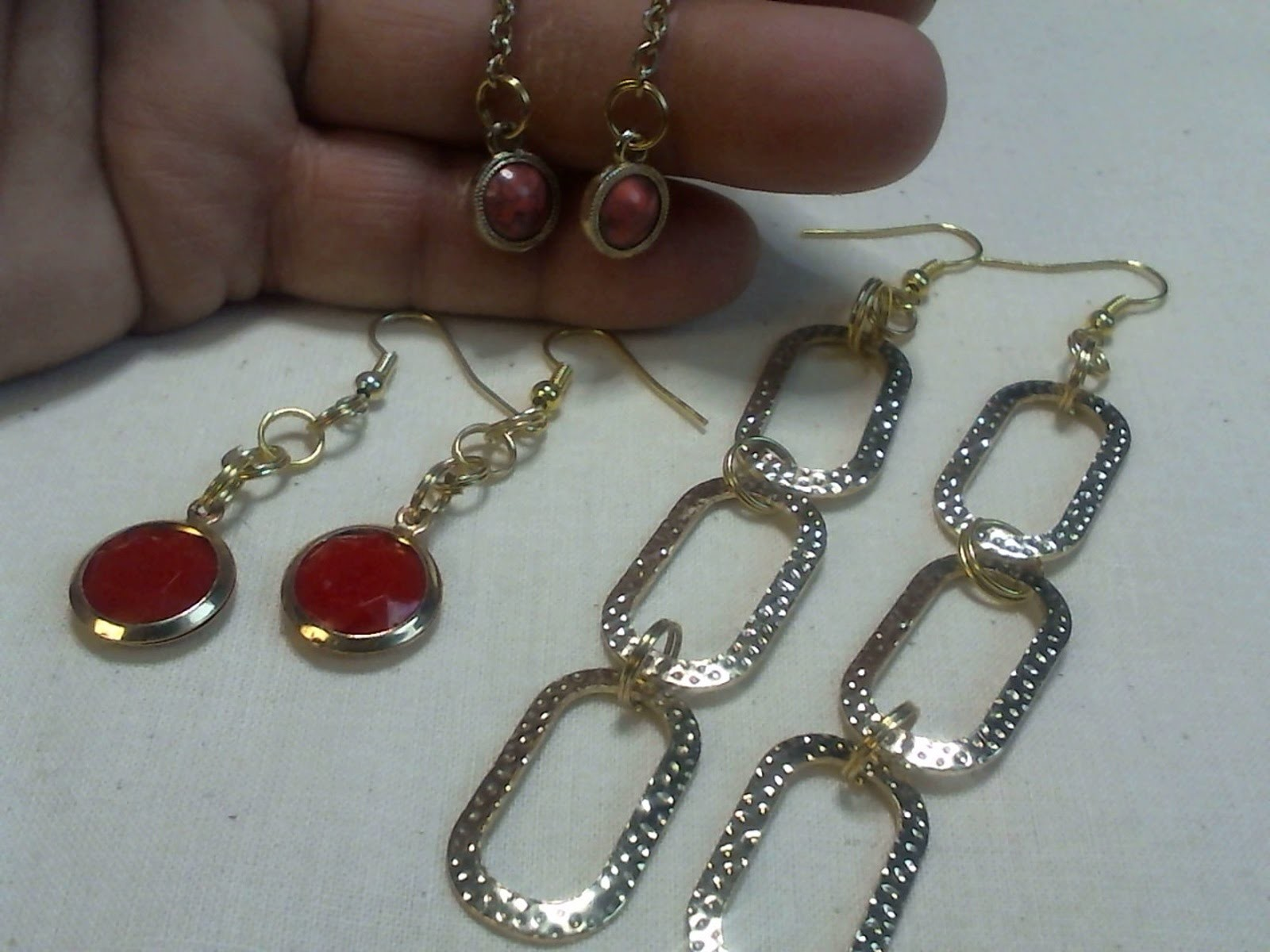 Dangle and chain Earrings from old jewelry