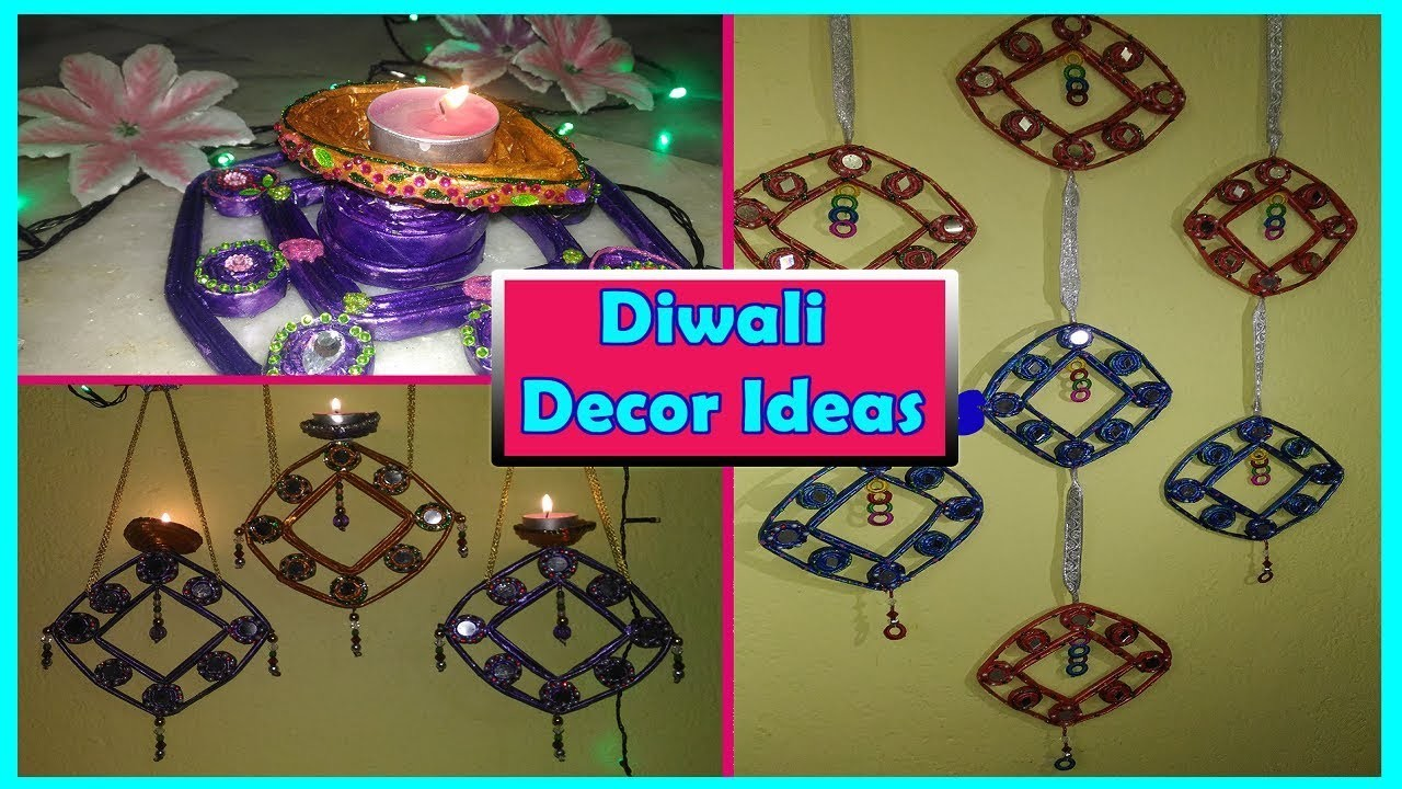 Diy diwali decoration ideas diya from waste materials for Room decoration ideas in diwali