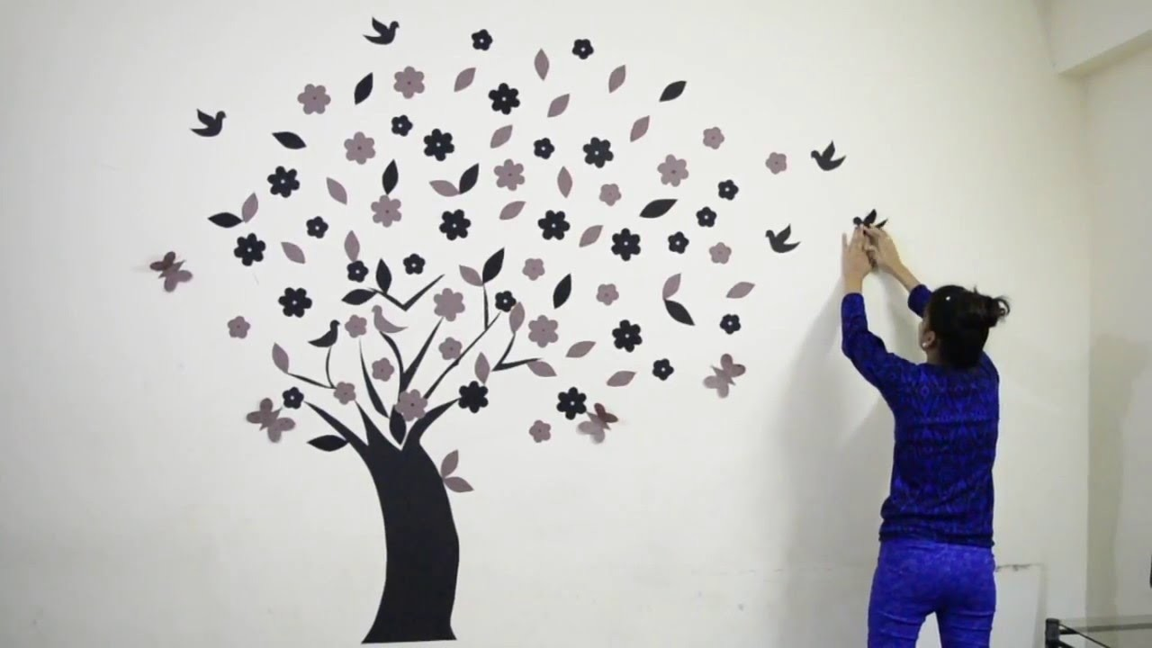 DIY How to make  Beautiful 3D  Wall Decoration Tree 02