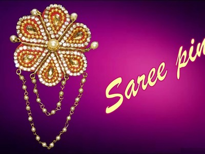 DIY - How to make stylist Saree Pin. Broach at home. Tutorial